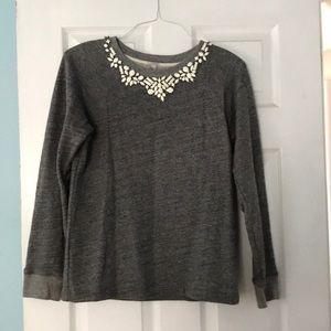 Charcoal gray embellished sweatshirt from jcrew
